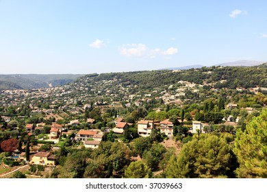 aerial view from the village of Saint-Paul de Vence, Southern France