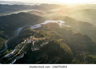 Aerial view of the village of Siurana in Catalonia, Spain