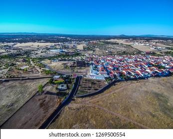 Aerial view in Villanueva del  Fresno. Extremadura. Spain. Drone Photo
