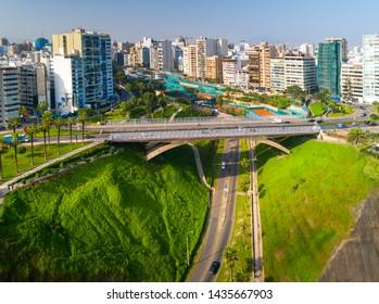 Aerial view of Villena bridge in Miraflores, Lima, Peru.