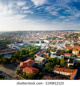 Aerial View of Vilnius City Old Town and Cathedral Square