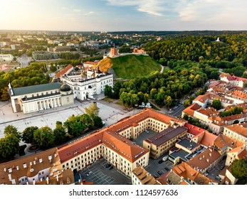 Aerial view of Vilnius Old Town, one of the largest surviving medieval old towns in Northern Europe. Sunset landscape of UNESCO-inscribed Old Town of Vilnius, the heartland of the city.