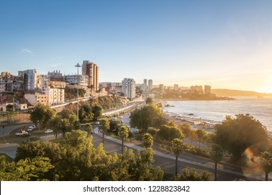 Aerial view of Vina del Mar at sunset - Vina del Mar, Chile