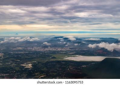 Aerial view of Visakhapatnam from a flight, Vizag, Andhra Pradesh, India