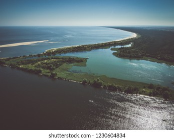 Aerial view of the Vistula river mouth to the Baltic sea