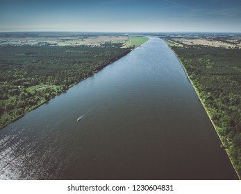 Aerial view of the Vistula river near its mouth to the Baltic sea