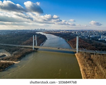 Aerial view of Vistula river, Siekierowski bridge and Warsaw city center