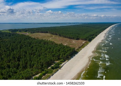 Aerial view of Vistula Spit, place for the future canal construction. Photo made by drone from above. Poland.
