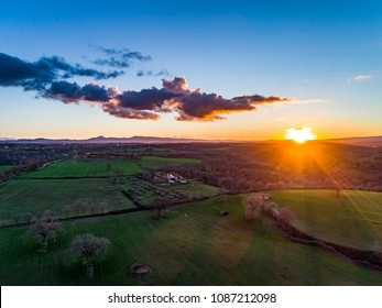Aerial view of the Viterbo countryside at sunset, Italy.
