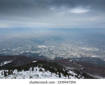 Aerial view of Vitosha Mountain near Kamen Del Peak, Sofia city Region, Bulgaria - Shutterstock ID 1939947394