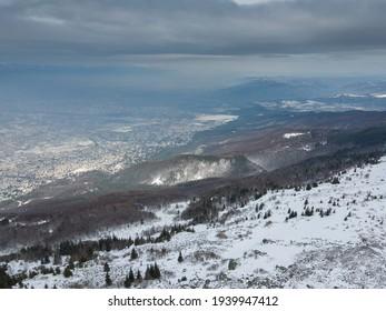 Aerial view of Vitosha Mountain near Kamen Del Peak, Sofia city Region, Bulgaria - Shutterstock ID 1939947412