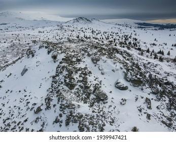 Aerial view of Vitosha Mountain near Kamen Del Peak, Sofia city Region, Bulgaria - Shutterstock ID 1939947421