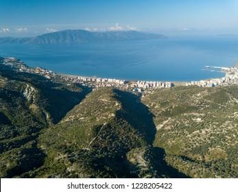 Aerial view of Vlora/Vlore in Albania (Albanian Riviera)