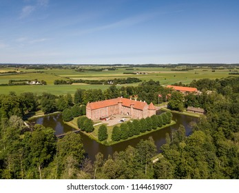 Aerial view of Voergaard Castle near Dronninglund on the North Jutland peninsula