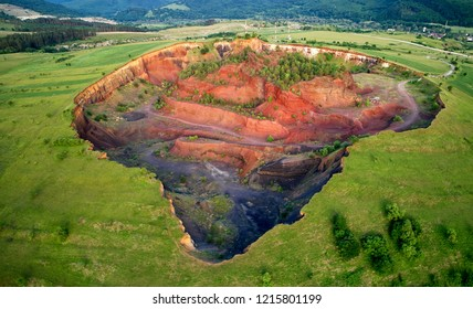aerial view of volcanic crater in Racos village,  Brasov county, Romania