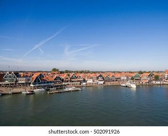 Aerial view of Volendam city in Netherlands