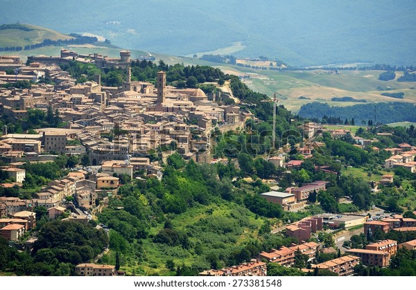 Aerial view of Volterra, old tuscany town in Italy