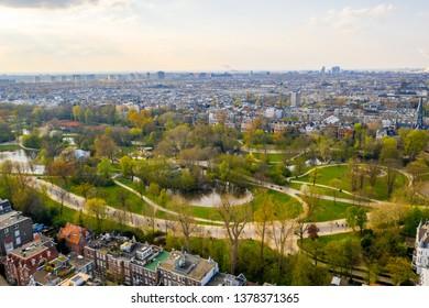 Aerial view of the Vondelpark in Amsterdam.