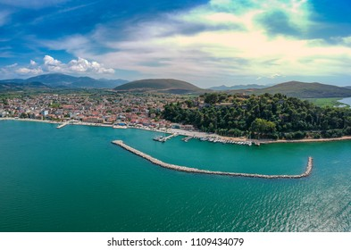 Aerial view of Vonitsa town and the castle. Vonitsa is a historical picturesque coastal town in the northwestern part of Aetolia-Acarnania in Greece. Aktio, Greece, Europe