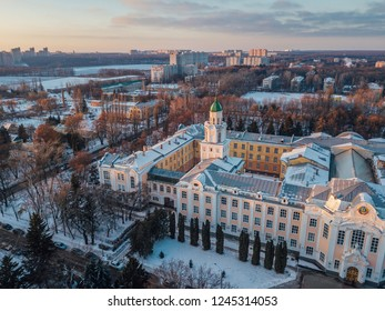 Aerial view of Voronezh in winter evening from height of drone flight.
