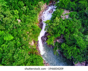 Aerial view of 'Vuillemin' waterfall located in Beau Bassin, Mauritius