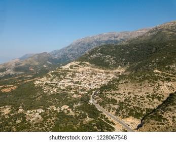 Aerial view of Vuno, Albania.  An Albanian village along the Albanian Riviera