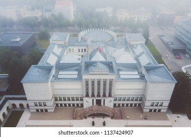 Aerial view of Vytautas the Great War Museum in Kaunas. Kaunas is the second-largest city in Lithuania and has historically been a leading centre of economic, academic, and cultural life