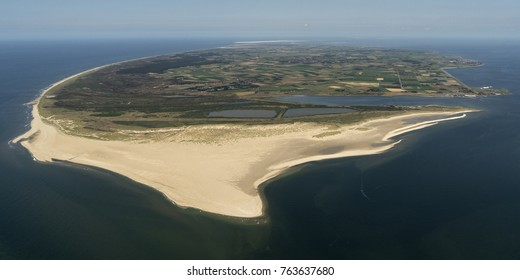 Aerial view of the Wadden island Texel. The huge sandy beach is militairy terrain DE MOK. The Wadden are on the UNESCO world heritage list.