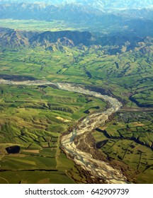 Aerial View of the Waiau River, North Canterbury, New Zealand. In the foreground is Waiau township.