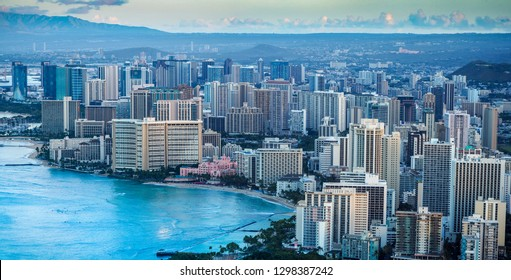 Aerial view of the Waikiki area during sunrise