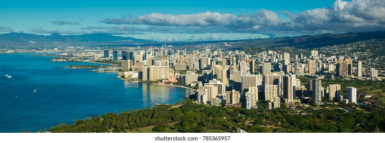 Aerial view of waikiki beach area during a day