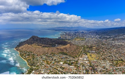 Aerial view of Waikiki Beach and Diamond Head volcano in Honolulu in Hawaii from a helicopter