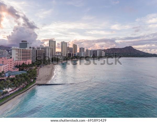 Aerial View Waikiki Beach Hotels Diamond Stock Photo Edit