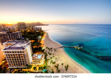 Aerial View of Waikiki Sunrise