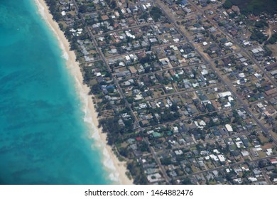Aerial view of Waimanalo Beach, Homes, bay. Highway, and  Pacific Ocean on Oahu, Hawaii.
