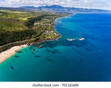 Aerial view of Waimea bay in the summer on the north shore of Oahu Hawaii