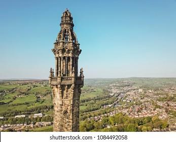 Aerial view of Wainhouse Tower, Halifax, Calderdale, West Yorkshire, UK
