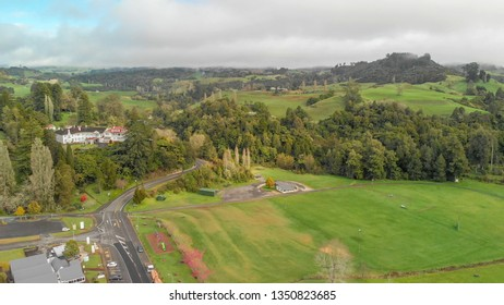 Aerial view of Waitomo countryside, New Zealand.