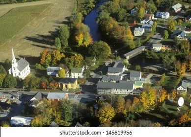 Aerial view of Waitsfield, VT and the Mad River on Scenic Route 100 in Autumn