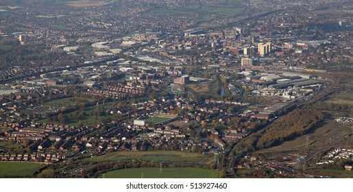 aerial view of the Wakefield town centre skyline, UK