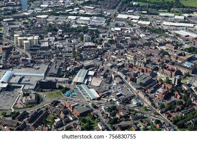 aerial view of Wakefield, West Yorkshire, UK