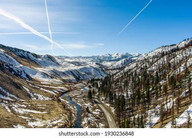 Aerial view of Walker River Canyon in the Eastern Sierra Nevada mountains in Northern California.