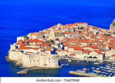 Aerial view to the walls of Dubrovnik old town, Croatia
