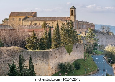 Aerial view of the walls of Volterra and San Francesco Church, Pisa, Tuscany, Italy