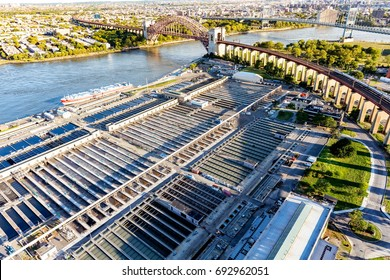 Aerial view of Wards Island Wastewater Treatment Plant in New York City