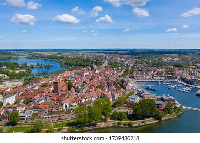 Aerial view of Waren, the town in the state of Mecklenburg Western Pomerania, Germany