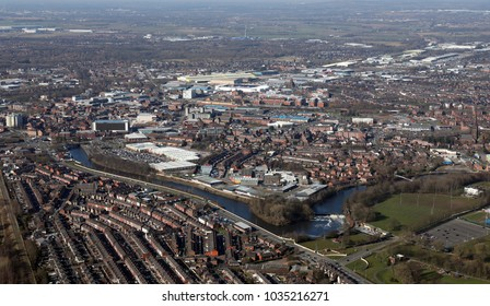 aerial view of Warrington town centre in Cheshire, UK