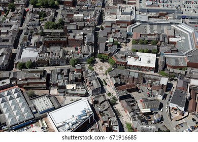 aerial view of Warrington town centre, UK