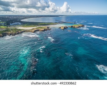 Aerial view of Warrnambool coastline, Victoria, Australia