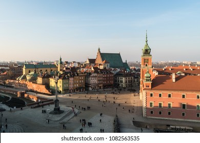 Aerial view of Warsaw old town with the royal castle and the cathedral by Zamkowy square in Poland capital city in Central Europe
